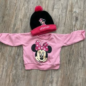 Minnie Mouse Sweatshirt and Winter Hat Bundle